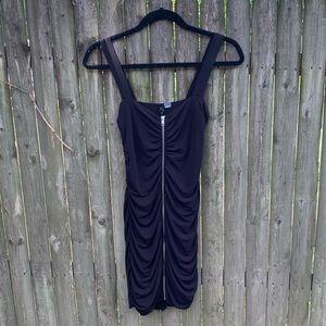 H&M black zip-up mini dress sz 6